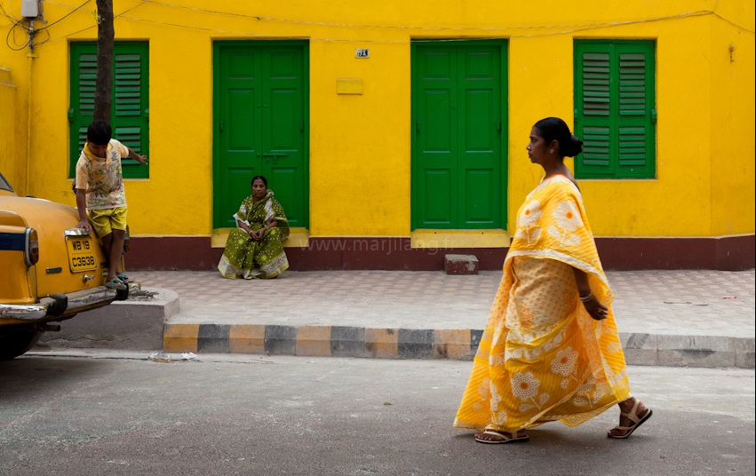 Street in Calcutta by Marji Lang