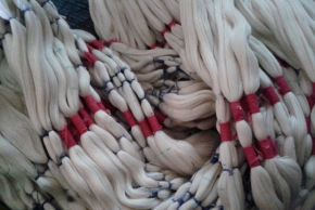tie-dye threads , knotted prior to dyeing