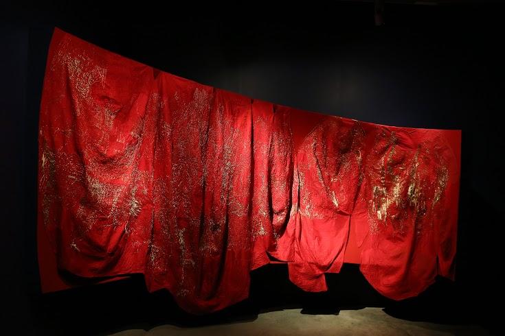 SHE LL by Swati Kalsi (cotton and metallic thread on silk)
