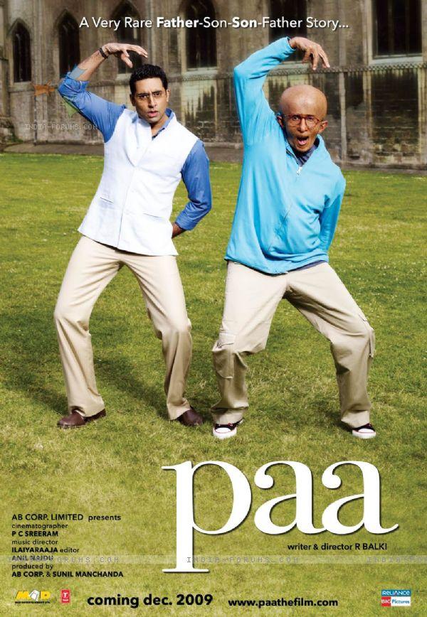 Paa movie poster with Amitabh and Abhishek