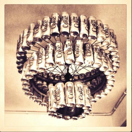 Coke Can Shandelier via Green the Gap