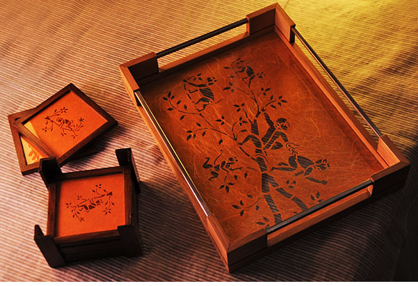 Sanjhi Art Trays & Coasters by Crafel