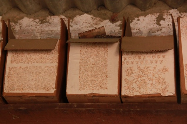 Wooden Blocks with Traditional Ajrakh Prints Stored in Different Boxes Marked with the Respective Motif