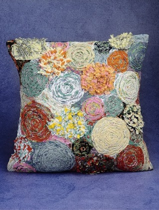 Cushion Cover with Upcycled Floral Details