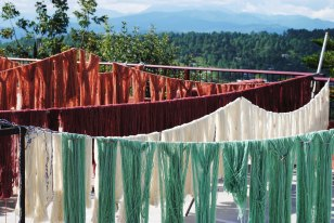Dyed yarn drying in the sun