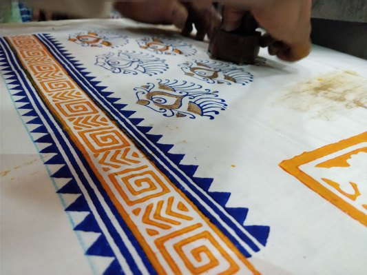 Block printing in action a